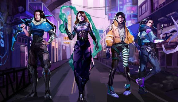 Artwork depicting four female Valorant players as Valorant agents