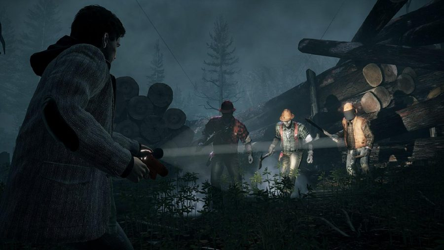 Alan can be seen shining his torch on some enemies in a forest.