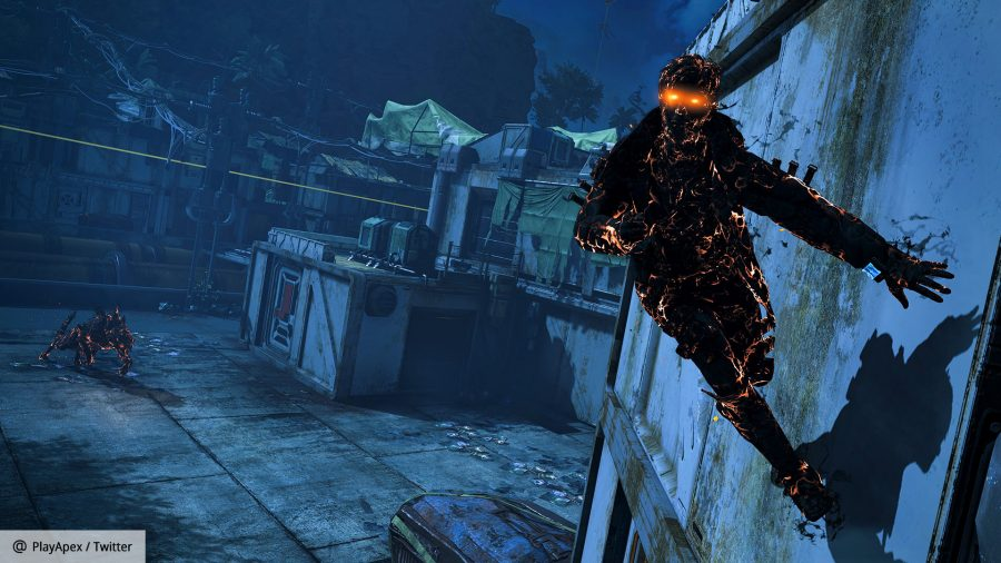 A shadowy figure running across a wall in the Apex Legends Halloween event 2021