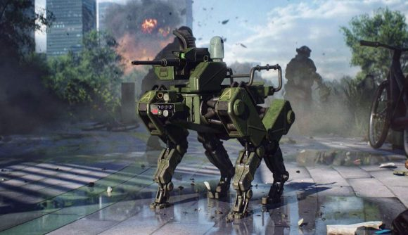 Battlefield 2042's robotic dog can be seen standing in a street in the midst of an ongoing battle.