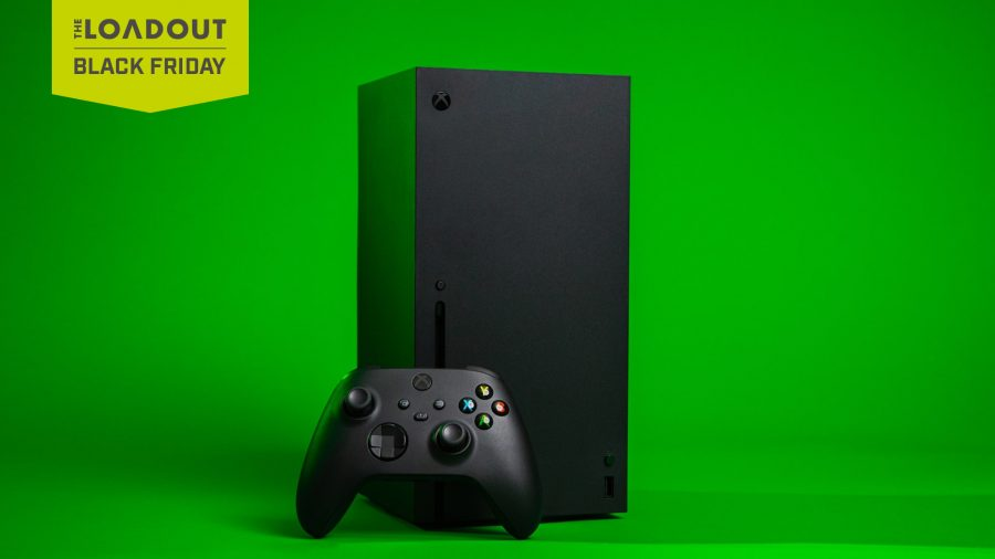 An Xbox Series X and controller on a green screen background