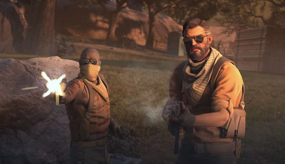 Two CS:GO operators in brown guerrilla gear, fire their weapons towards the camera