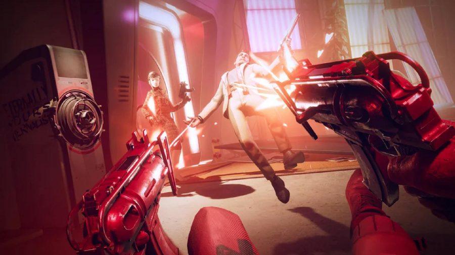 Colt is firing two machine guns at enemies.