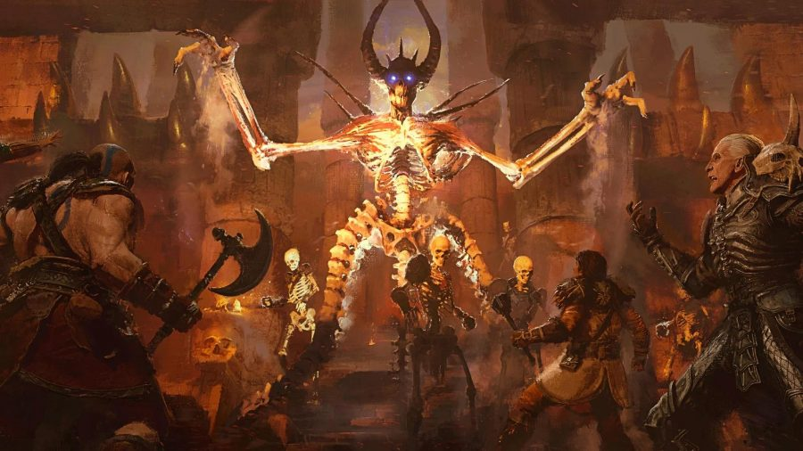 Enemies and players can be seen swarming a large fire demon in a piece of art for the game.
