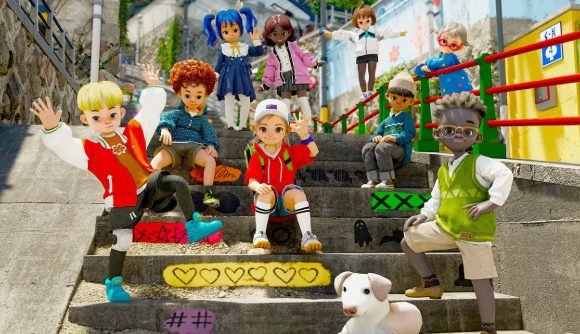 multiple player characters sit and stand on steps in the city looking and waving towards the camera.