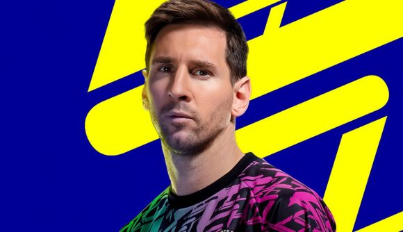eFootball release time: Messi stands looking at the camera in the game's official key art.
