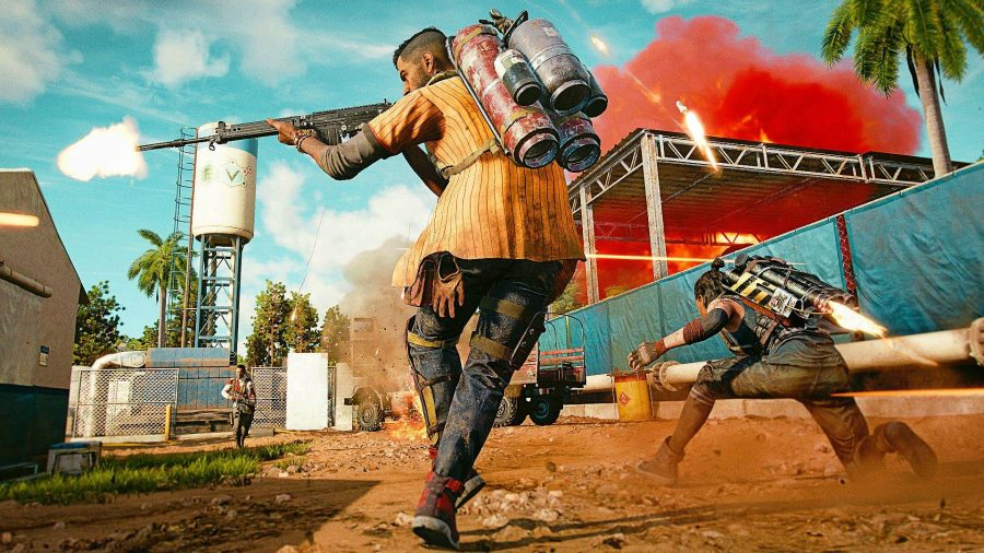 Dani Rojas can be seen running into a fight, aiming his weapon, with the female Dani using her Supremo backpack in the corner.