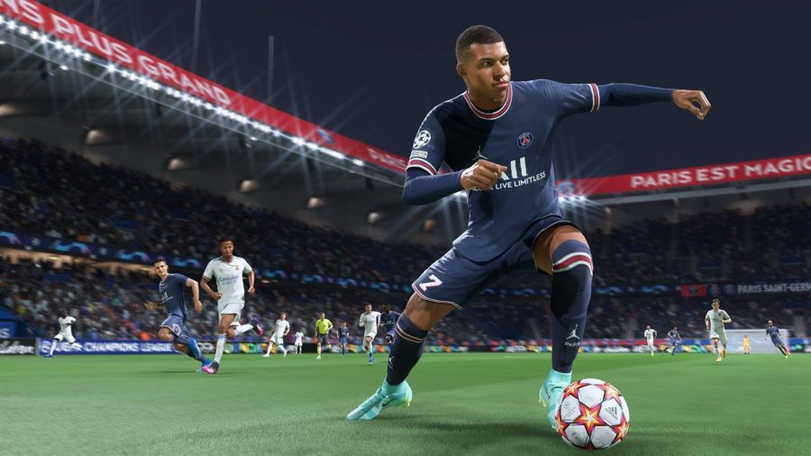 Kylian Mbappe dribbles with the ball in FIFA 22
