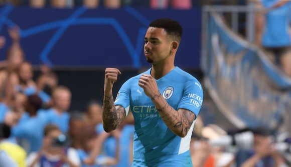 Gabriel Jesus celebrates a goal in FIFA 22