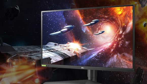 An LG gaming monitor showing a space scene