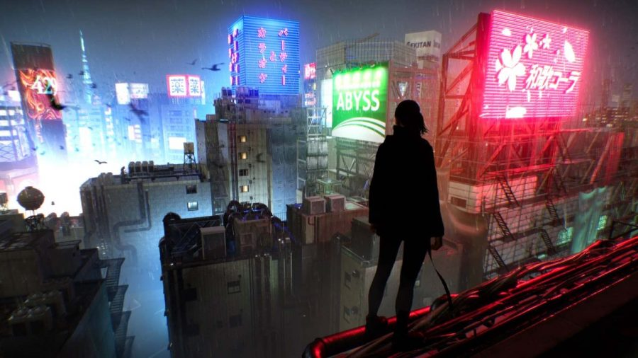 A figure stands on a rooftop, overlooking the buildings in Tokyo.