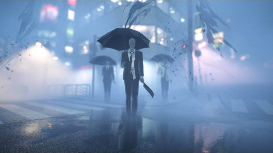 Three spirits can be seen walking through the streets of Tokyo with umbrellas.