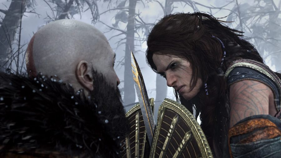 Kratos can be seen fighting.