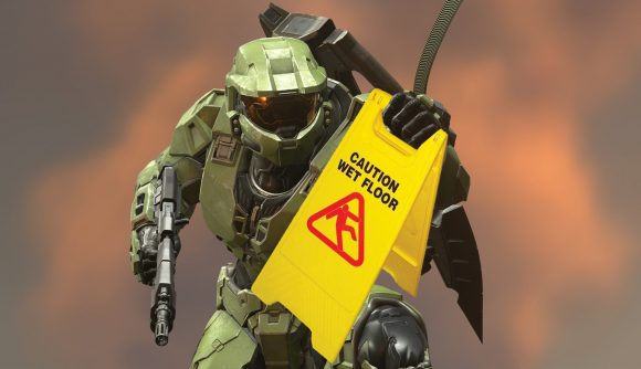 A photshopped image of Halo's Master Chief holding a wet floor sign