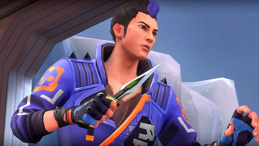 Yoru, a man in a purple and orange jacket holding a knife
