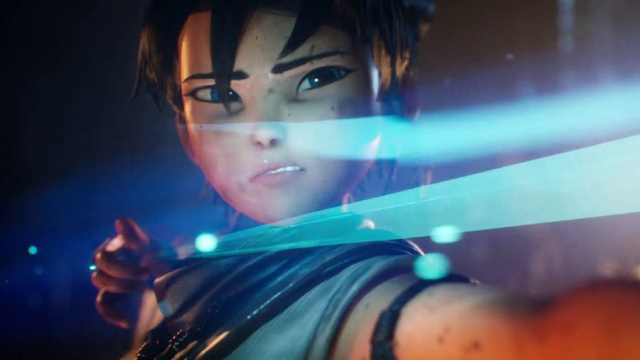 Kena can be seen aiming her bow, with the camera close to her chest, looking at her face.