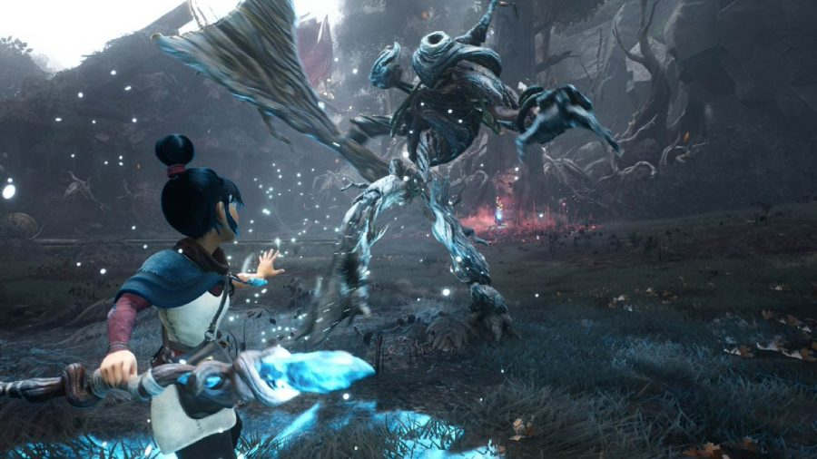 Kena can be seen parrying an enemy in combat, holding her staff with her hand out in front of her.
