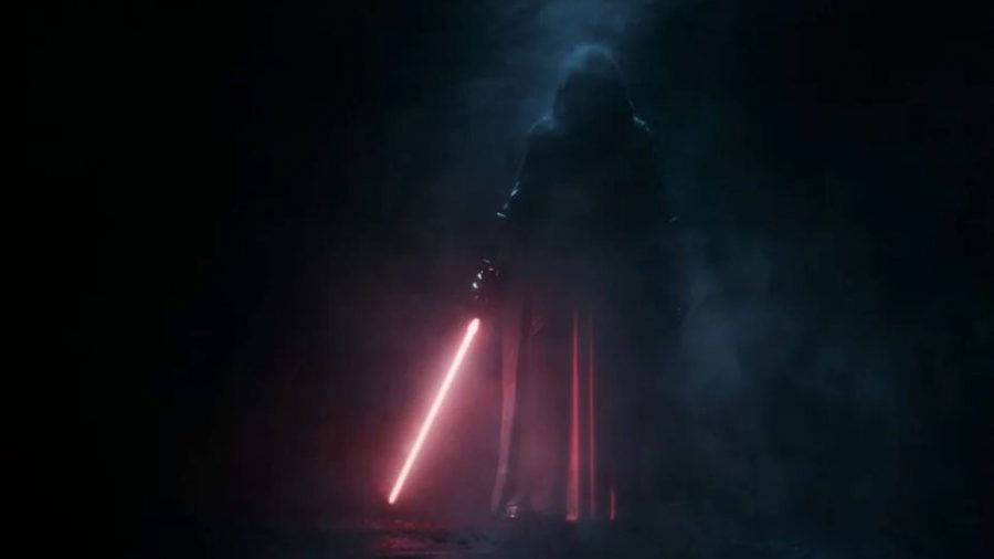 A shadowy figure can be seen with a ligthsaber.