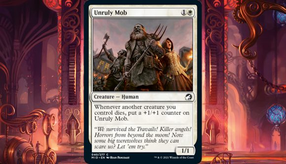 An unruly mob charge through the streets in this Magic card