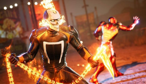 Ghost Rider and Iron Man can be seen preparing to attack.