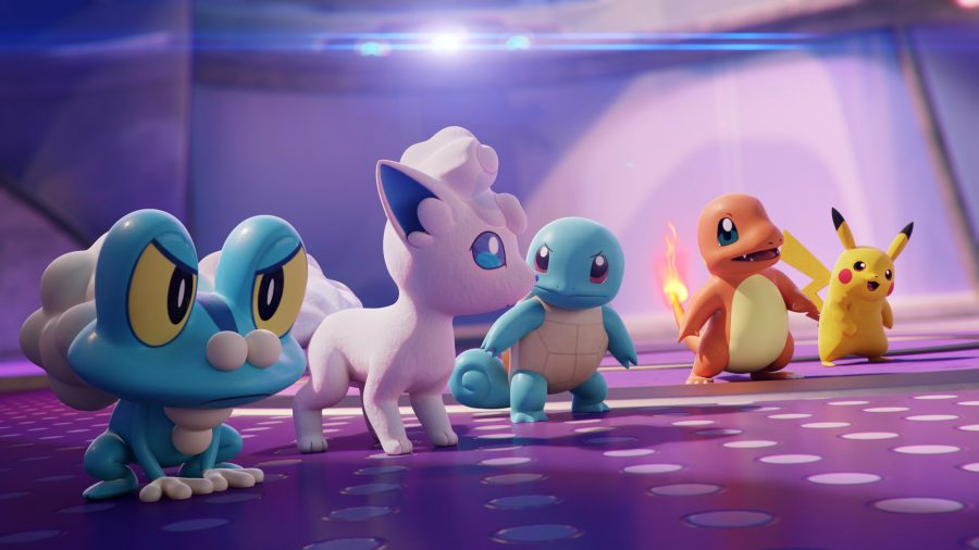 Five Pokemon stand in a line ready to go to battle