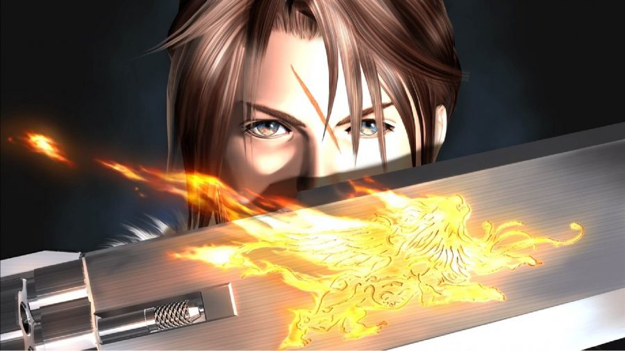 The main character from Final Fantasy 8 can be seen in the game's key art holding a sword in front of her.
