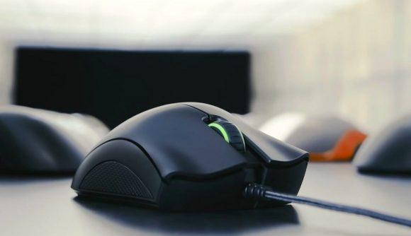 A black Razer DeathAdder Essential gaming mouse