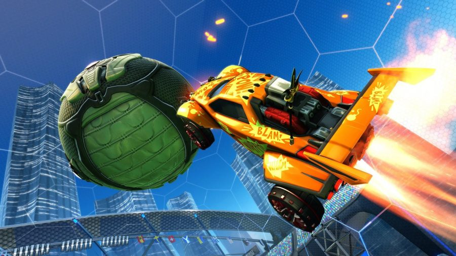 An orange car boosts up into the air to hit the ball in Rocket League