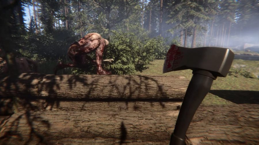 The player can be seen wielding an axe at an enemy.