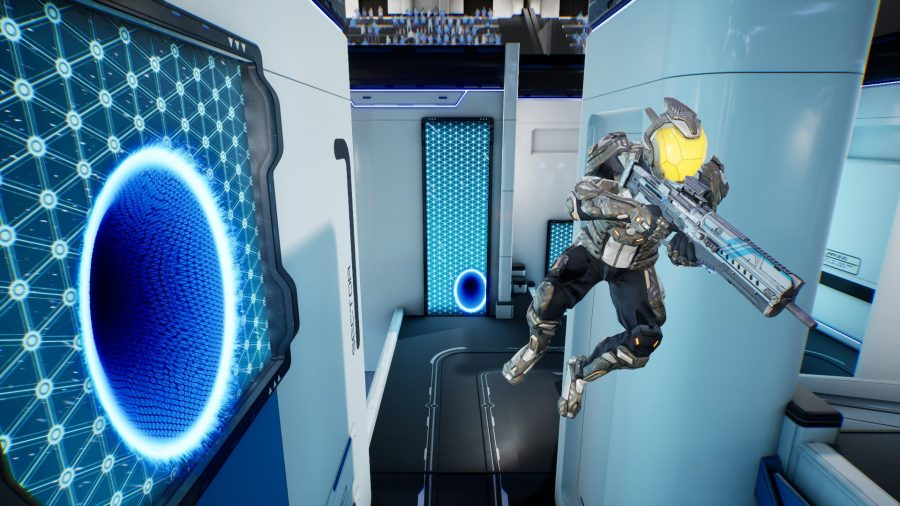 A player can be seen jumping through the air after exiting a portal.