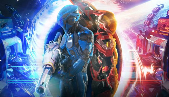 Two Splitgate characters stand side by side in front of a portal.