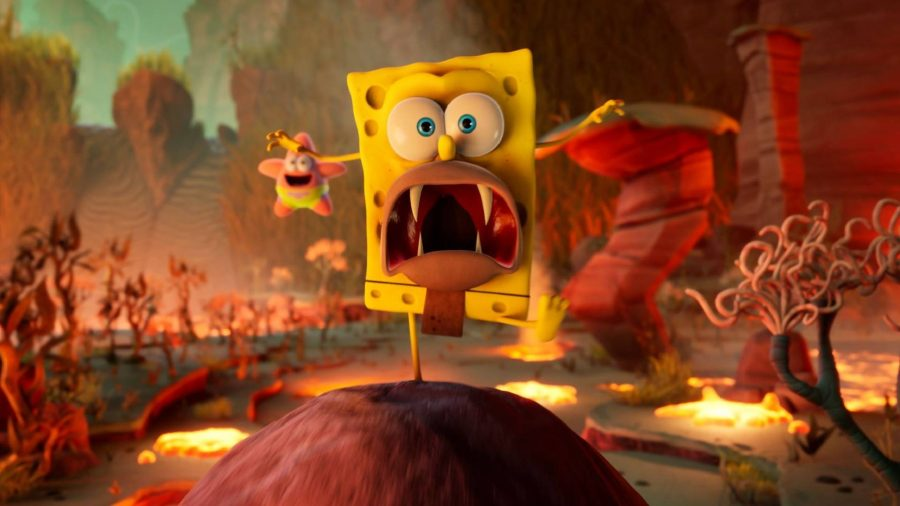 Spongebob can be seen as a caveman, running towards the camera with Patrick in the background.
