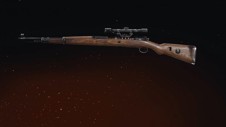 A side profile of a Kar98k sniper rifle in Call of Duty Vanguard, set against a black backdrop