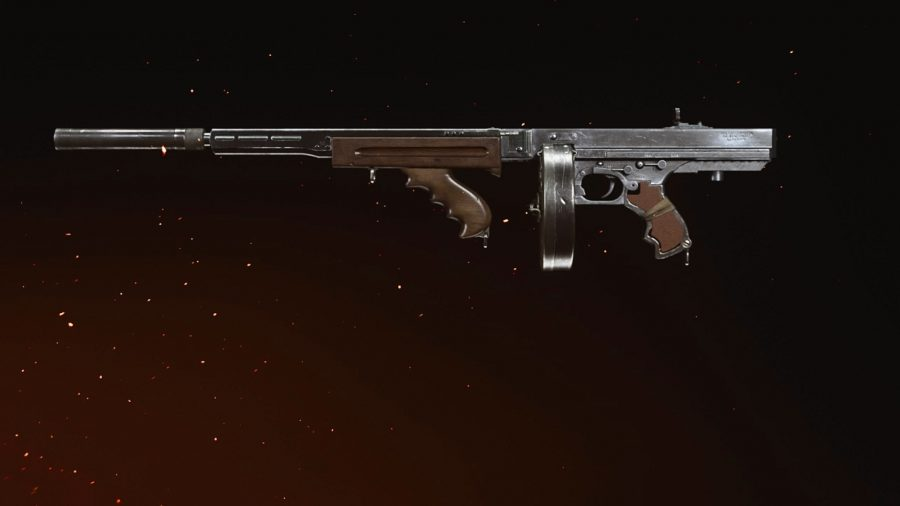 A side profile of an M1928 submachine gun in Call of Duty Vanguard, set against a black backdrop