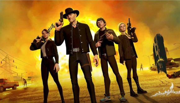 The four main characters in Zombieland stand looking towards the camera in the game's key art.