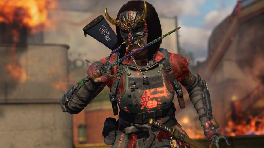 A Warzone operator wearing a horned mask and red and black armour runs with two trident-like melee weapons in her hands