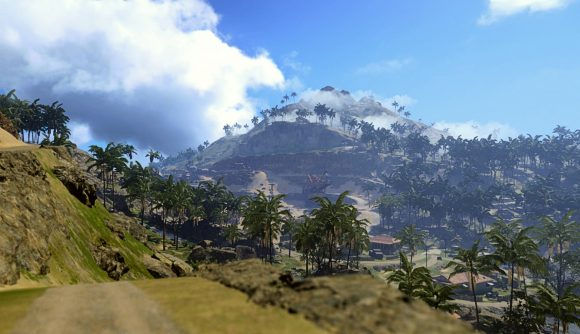 A shot of Warzone's new Pcific map, featuring green hillsides and a towering volcano