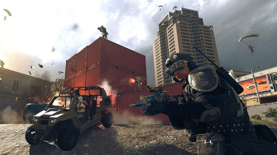 A battle rages in Warzone around a stack of red shipping containers