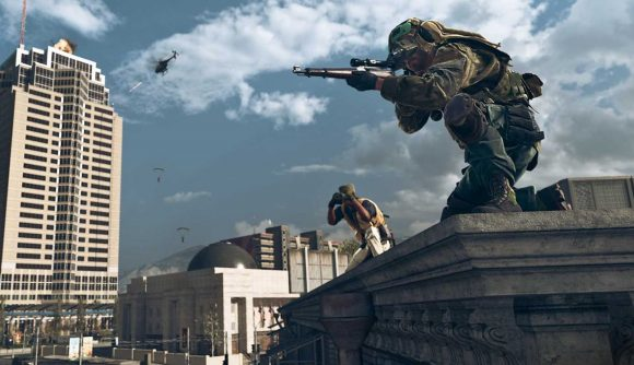 Warzone Update September 2021: a sniper sits on a rooftop