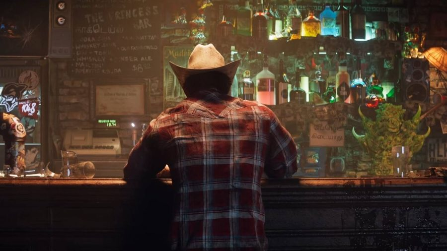 Wolverine can be seen drinking at a bar.