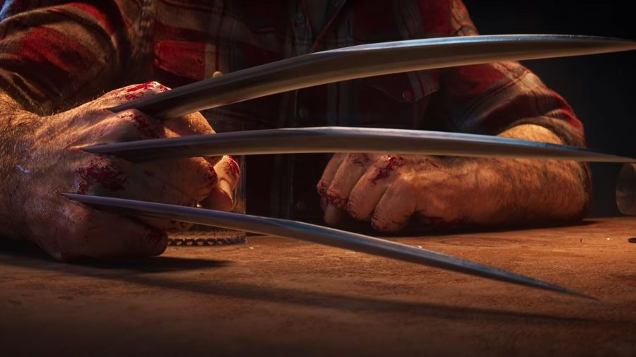 Wolverine's claws can be seen extending as he prepares to attack an enemy.