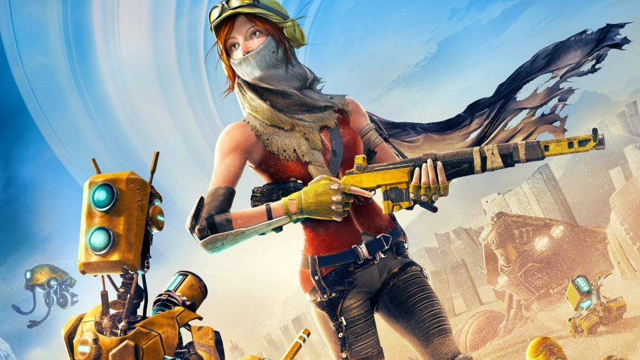 Recore's main protagonist stands in a desert.
