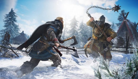 Eivor can be seen fighting an enemy who is swinging a large ball on a chain in a snowy hillside.