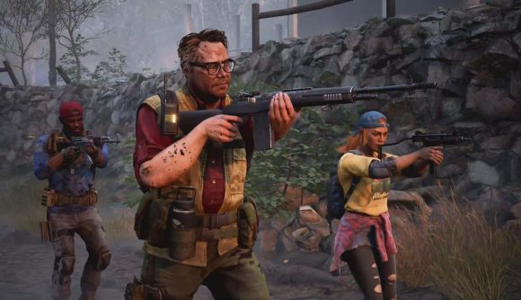 Three cleaners can be seen aiming there weapons at something off screen.