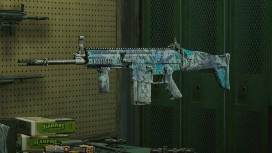 Back 4 Blood how to unlock weapon camos and skins: The Scar weapon can be seen with an ice blue camo.