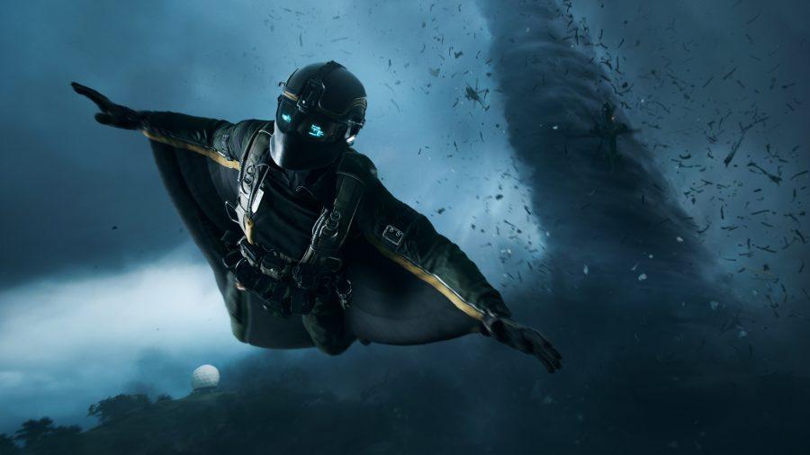 Battlefield 2042 destruction: a man in a wingsuit flies away from a tornado