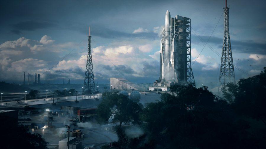 Battlefield 2042 rocket blow up: The rocket in Orbital in a sweeping shot of the map