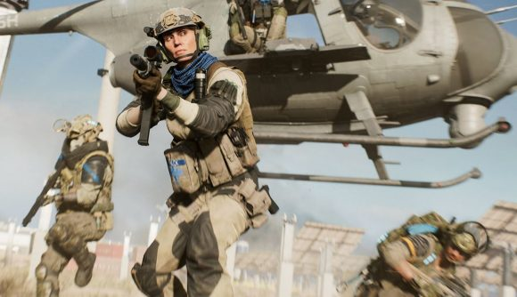 Battlefield 2042 Hazard Zone trailer: a woman hops out of a helicopter ready for battle