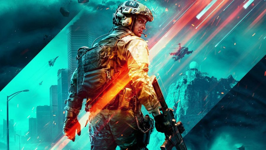 Best Battlefield 2042 guns: a soldier stands with his back to the camera holding a gun