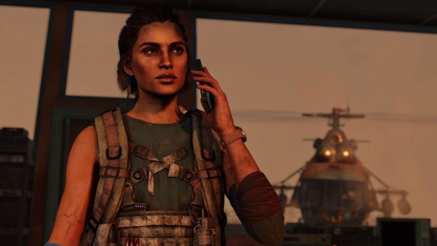 Far Cry 6 Bandidos Operations: Dani can be seen on the phone talking to someone, while a helicopter is flying towards her from behind.